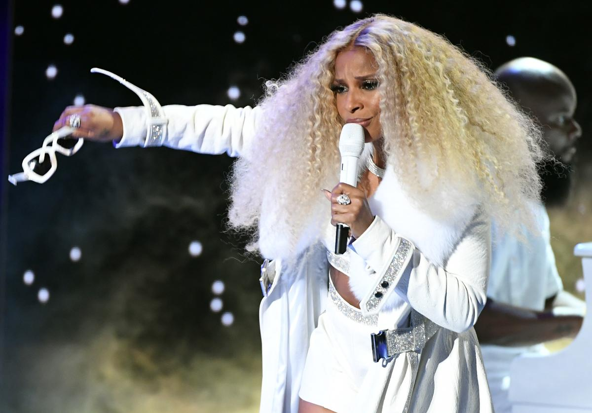 Mary J. Blige performing at the 2019 BET Awards