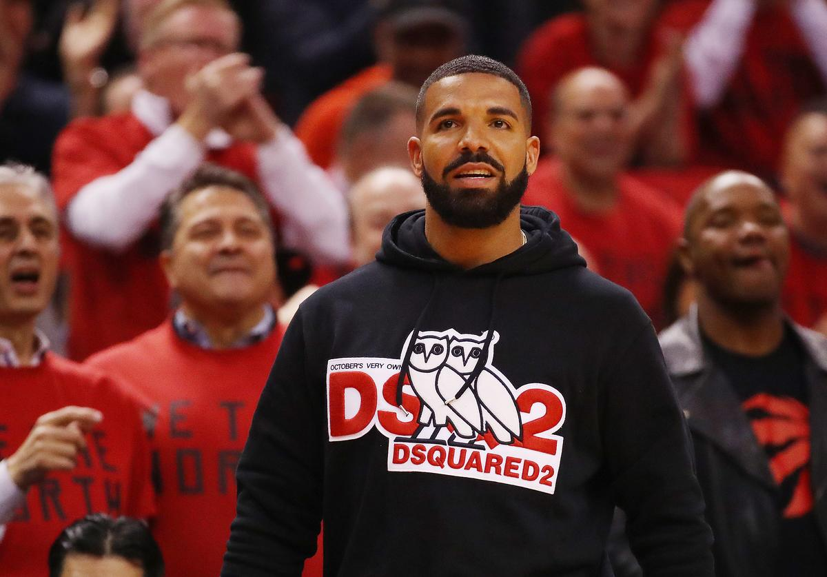 Rapper Drake attends game four of the NBA Eastern Conference Finals between the Milwaukee Bucks and the Toronto Raptors at Scotiabank Arena on May 21, 2019 in Toronto, Canada.