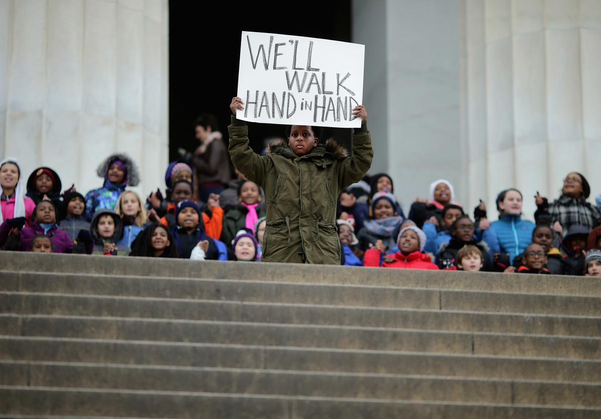 """Students From  Peabody and Watkins Cluster Community School gather on the steps of the Lincoln Memorial to recite Dr. Martin Luther King's """"I Have A Dream"""" speech"""