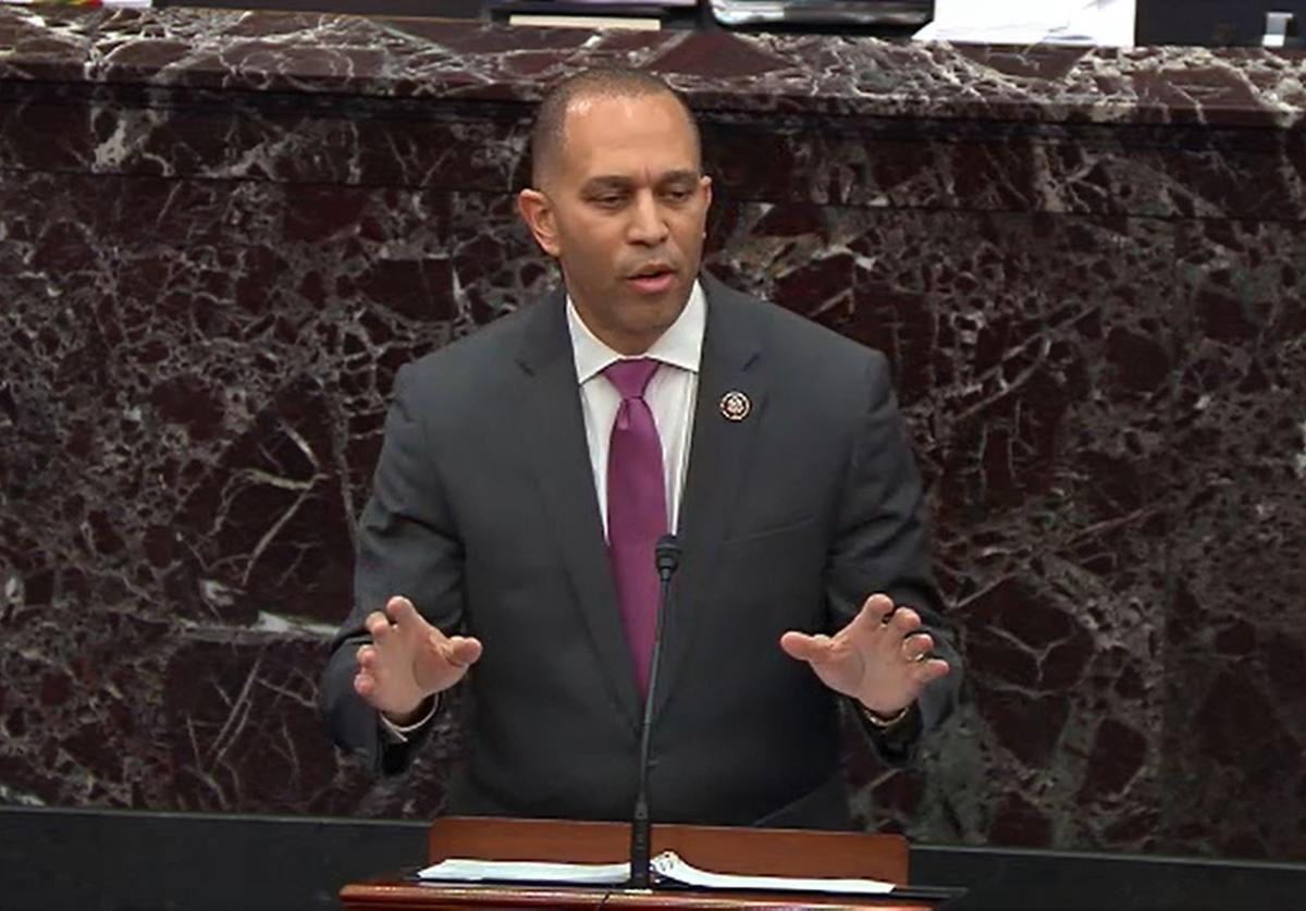 House impeachment manager Rep. Hakeem Jeffries (D-NY) speaks during impeachment proceedings against U.S. President Donald Trump in the Senate at the U.S. Capitol on January 21, 2020 in Washington, DC