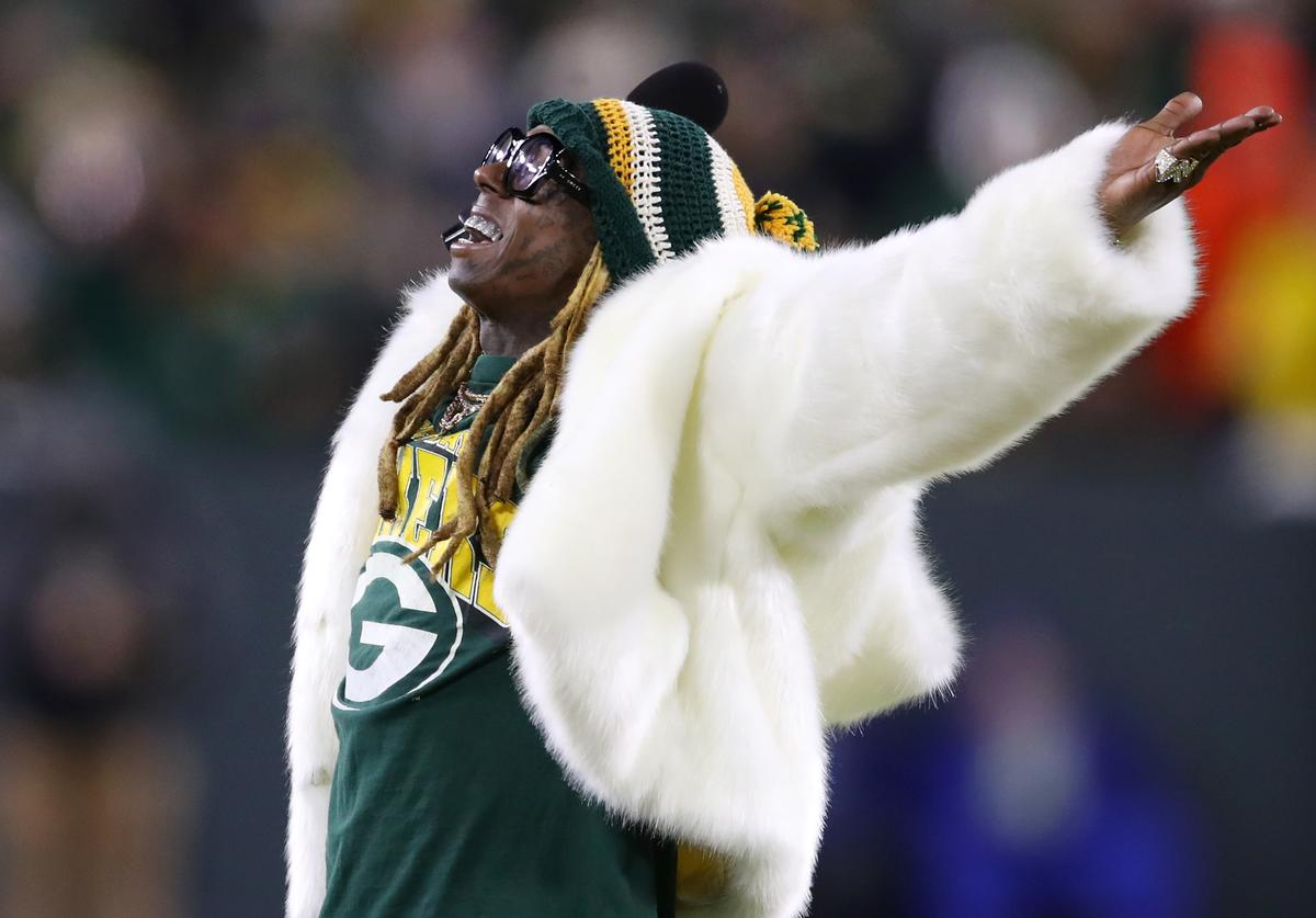 Lil Wayne performs during the NFC Divisional Playoff game between the Seattle Seahawks and the Green Bay Packers at Lambeau Field on January 12, 2020 in Green Bay, Wisconsin