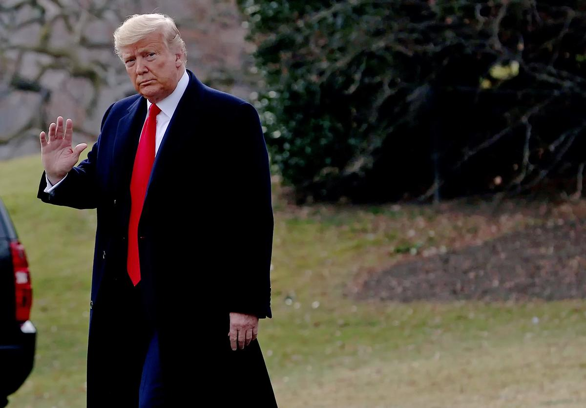 U.S. President Donald Trump walks to a waiting Marine One helicopter while declining to answer questions from reporters as he leaves the White House January 23, 2020 in Washington, DC. Trump is scheduled to speak this evening at the Republican National Committee Winter Meeting in Doral, Florida. (