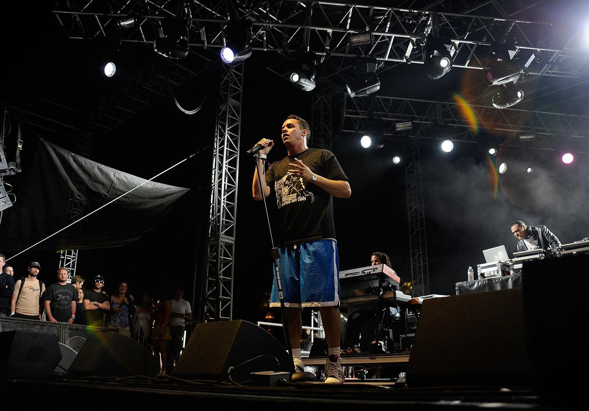 Rapper Slug of Atmosphere performs during day 1 of the Coachella Valley Music & Arts Festival held at the Empire Polo Club on April 18, 2009 in Indio, California.