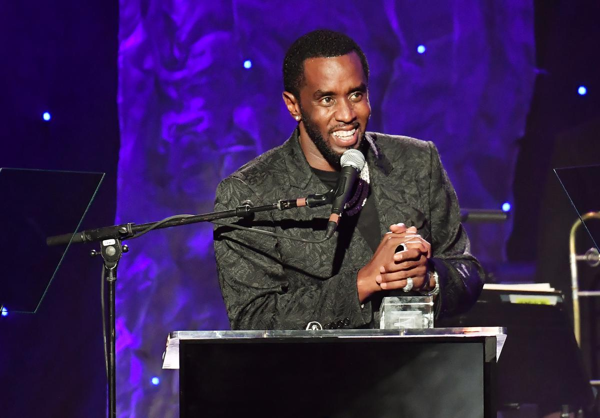 Diddy accepting the Grammys Salute to Industry Icons