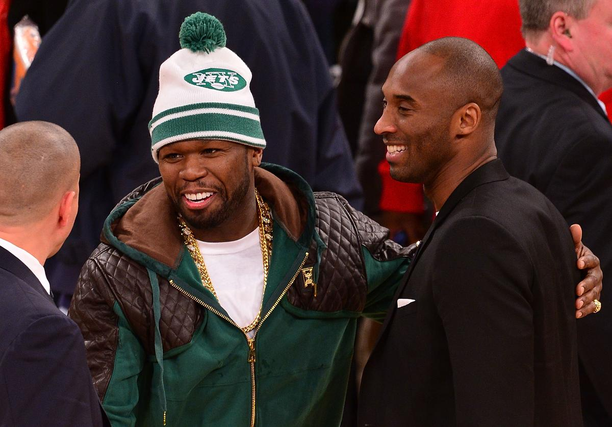 50 Cent and Kobe Bryant attend the Los Angeles Lakers vs New York Knicks game at Madison Square Garden on January 26, 2014 in New York City