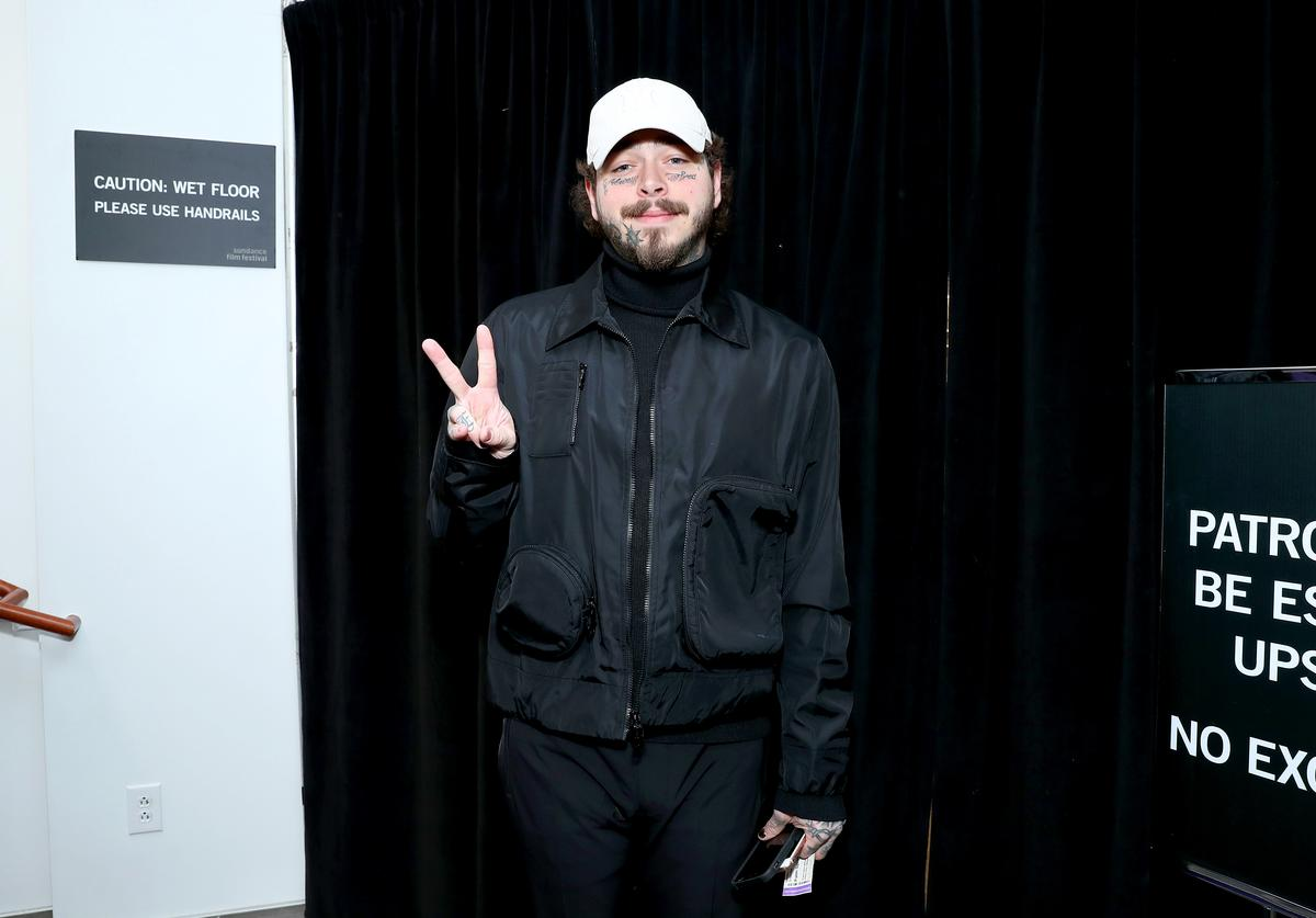 """Post Malone attends the 2020 Sundance Film Festival - """"Palm Springs"""" Premiere at Library Center Theater on January 26, 2020 in Park City, Utah"""