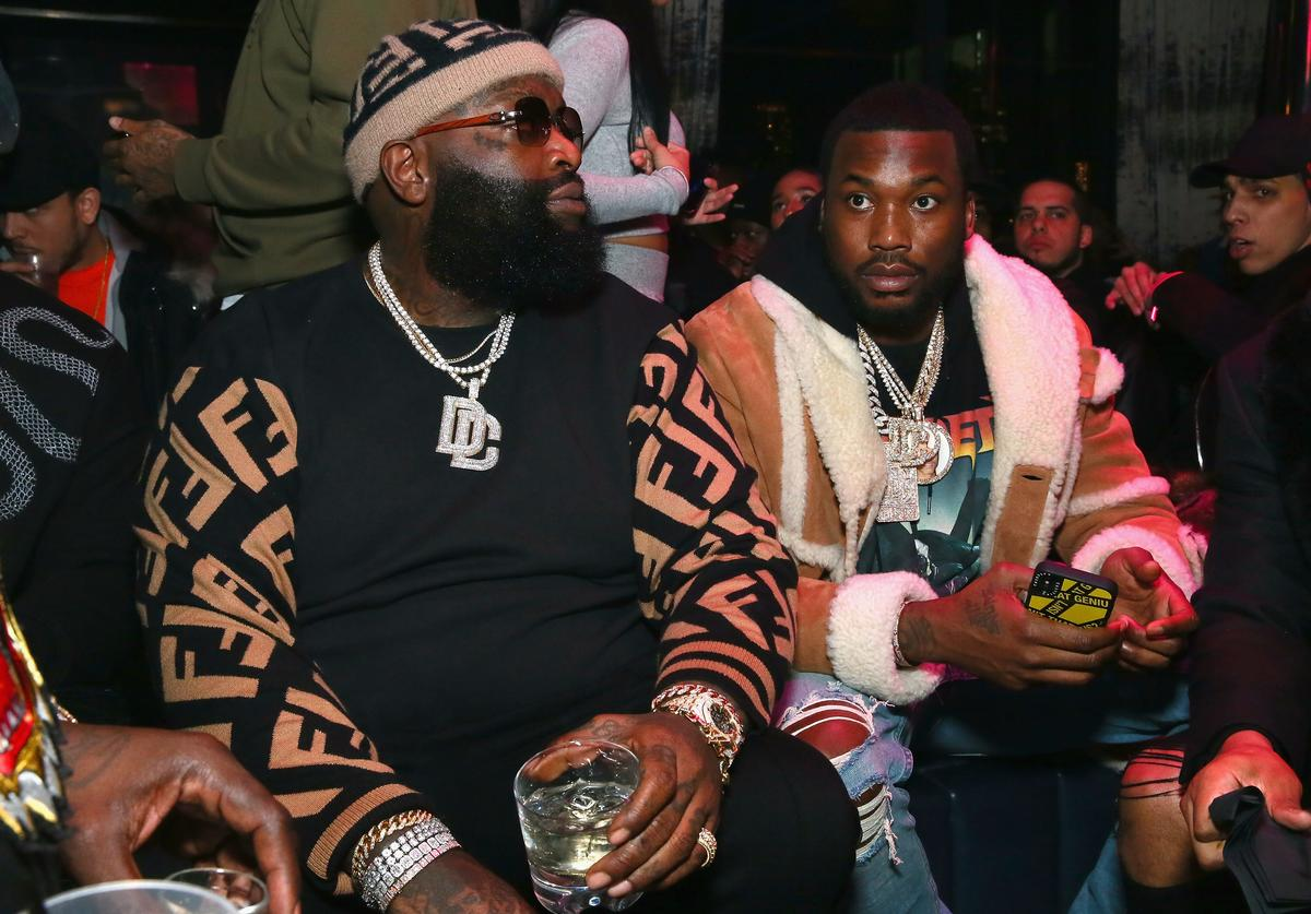Rick Ross and Meek Milll attend Meek Mill and PUMA celebrate CHAMPIONSHIPS album release party at PHD at the Dream Downtown on November 29, 2018 in New York City