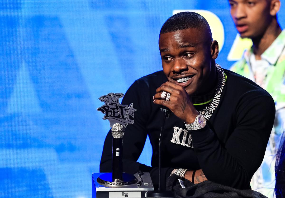 DaBaby speaks onstage at the BET Hip Hop Awards 2019 at Cobb Energy Center on October 5, 2019 in Atlanta, Georgia