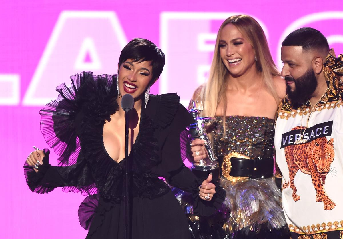 Cardi B, Jennifer Lopez, and DJ Khaled accept the award for Best Collaboration onstage during the 2018 MTV Video Music Awards (Aug. 2018)