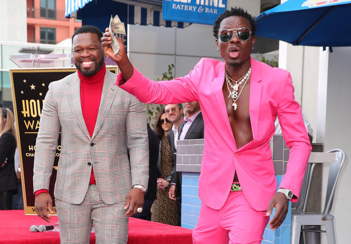 Michael Blackson & 50 Cent at Hollywood Walk Of Fame Star Induction