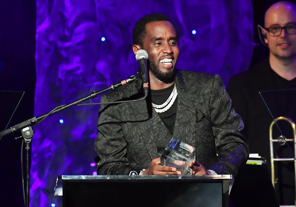 "Honoree Sean ""Diddy"" Combs speaks onstage during the Pre-GRAMMY Gala and GRAMMY Salute to Industry Icons Honoring Sean ""Diddy"" Combs on January 25, 2020 in Beverly Hills, California."