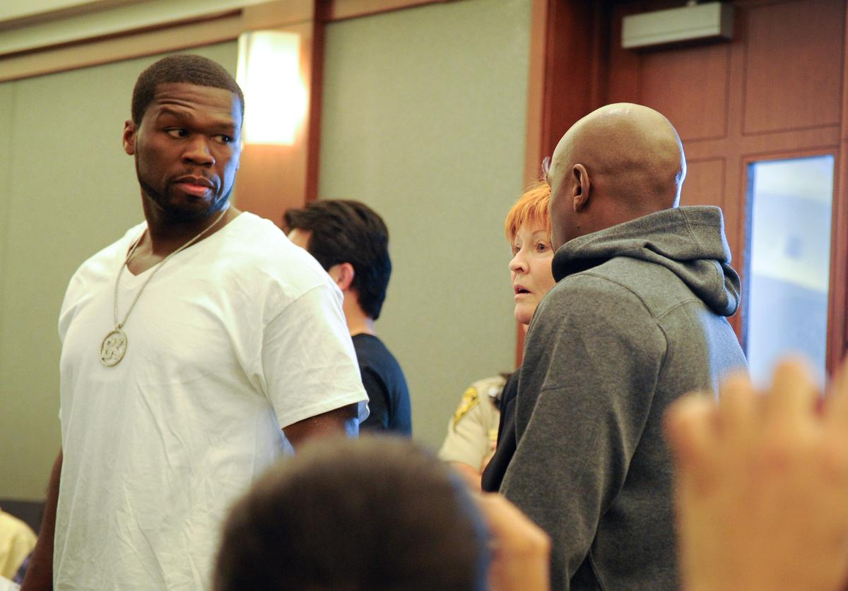Floyd Maywether Jr. arrives at the Clark County Regional Justice Center accompanied by Curtis ''50 Cent'' Jackson as he surrenders to serve a three-month jail sentence