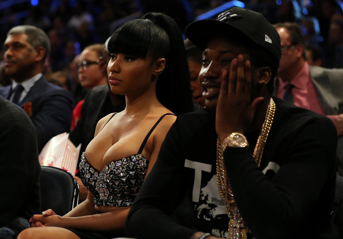 Nicki Minaj and Meek Mill attend the 2015 NBA All-Star Game at Madison Square Garden on February 15, 2015 in New York City