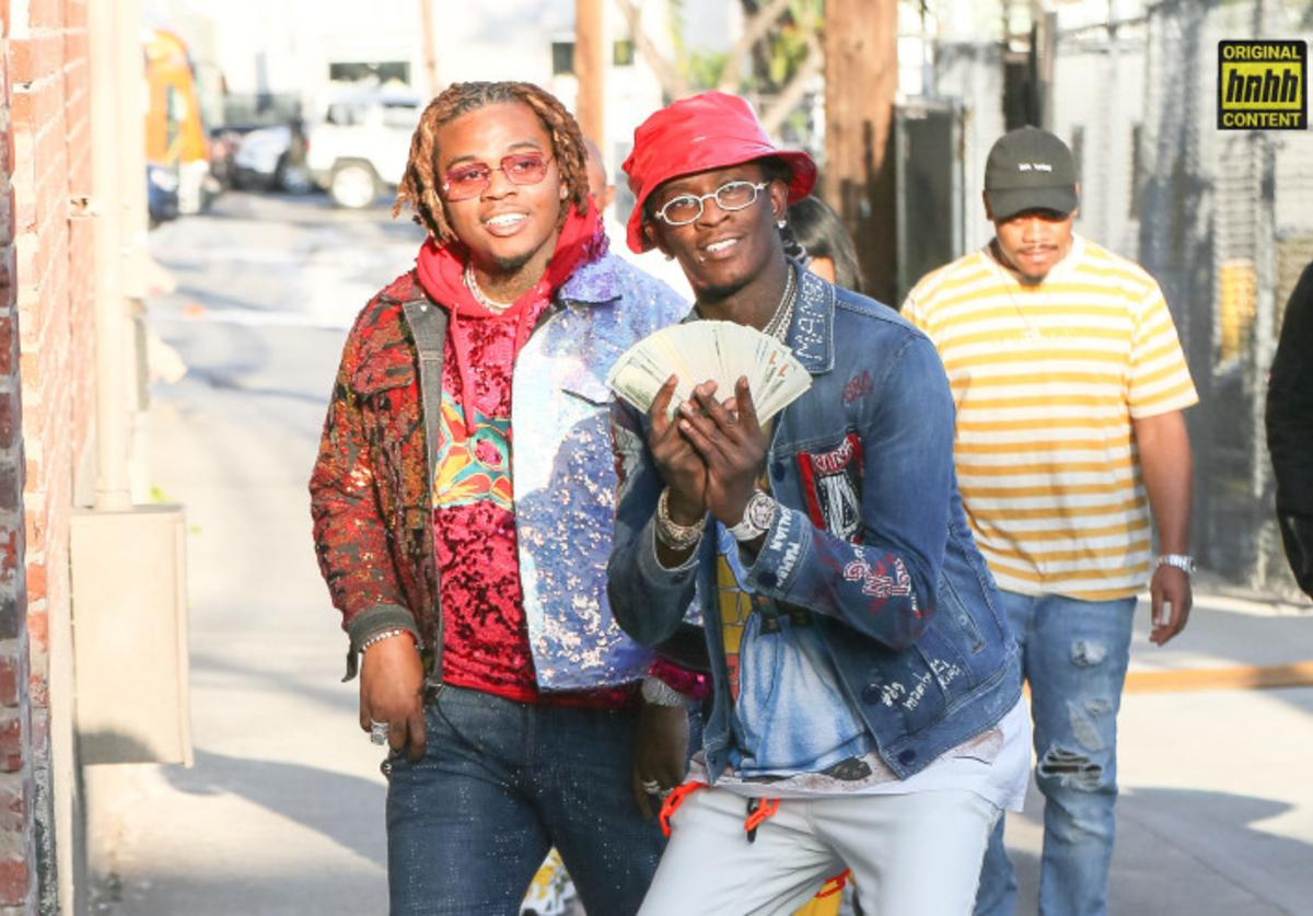 Young Thug and Gunna with a stack of cash