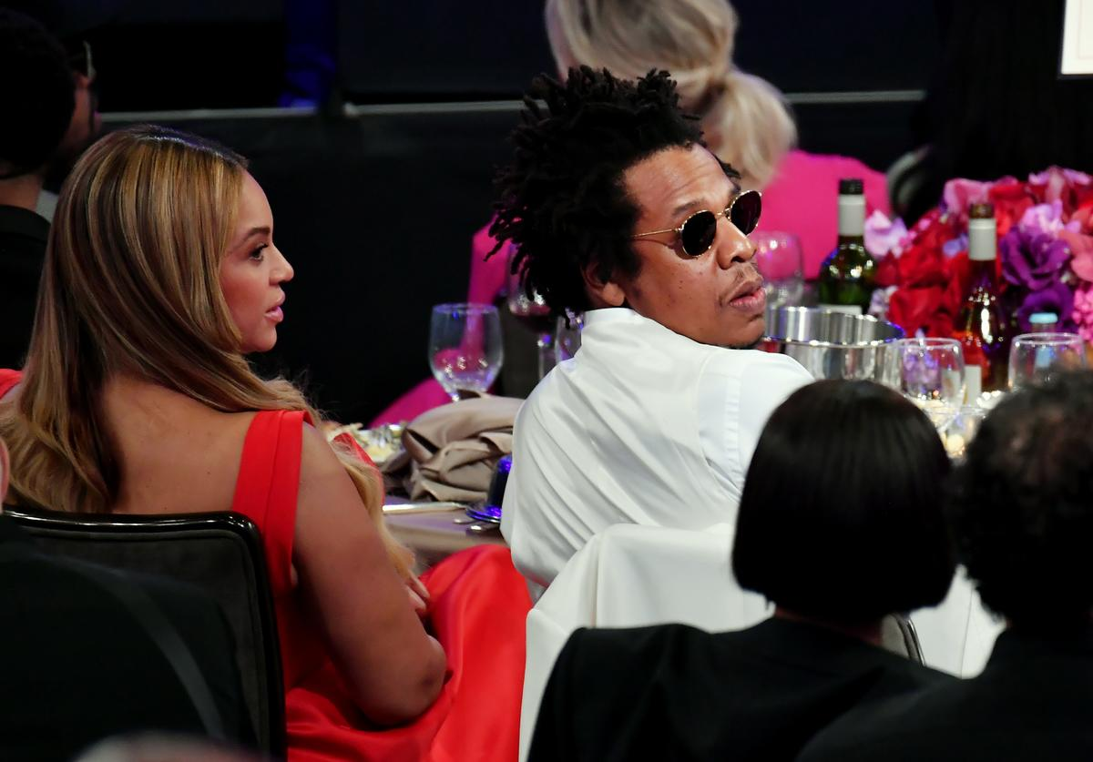 """Beyoncé and Jay-Z attend the Pre-GRAMMY Gala and GRAMMY Salute to Industry Icons Honoring Sean """"Diddy"""" Combs on January 25, 2020 in Beverly Hills, California."""