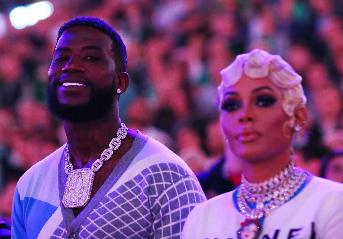 Gucci Mane and his wife Keyshia Ka'Oir before Game 3 of the Eastern Conference Semifinals of the 2019 NBA Playoffs between the Boston Celtics and the Milwaukee Bucks at TD Garden on May 03, 2019 in Boston, Massachusetts