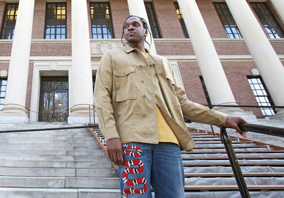 Pusha T speaking at Harvard University