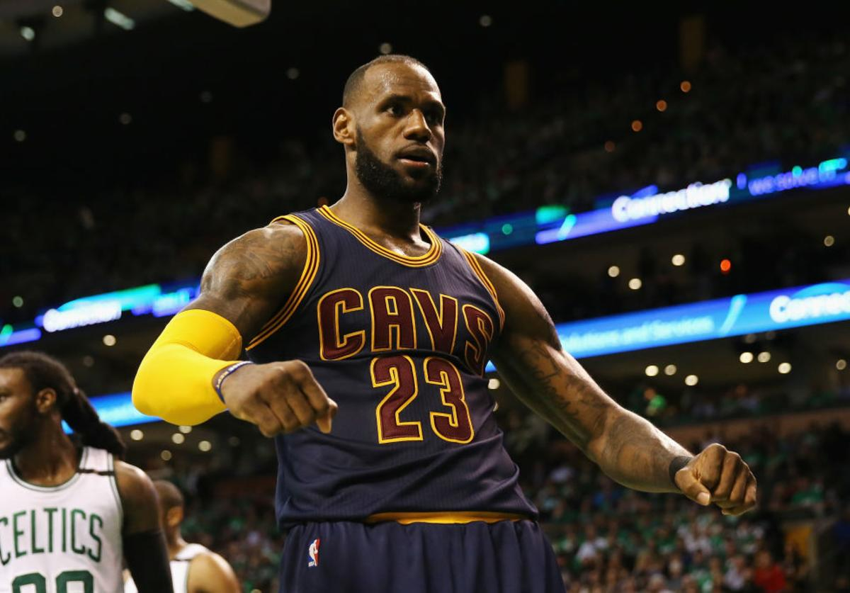 LeBron James #23 of the Cleveland Cavaliers celebrates his dunk in the third quarter against the Boston Celtics on during Game Five of the 2017 NBA Eastern Conference Finals at TD Garden on May 25, 2017 in Boston, Massachusetts.