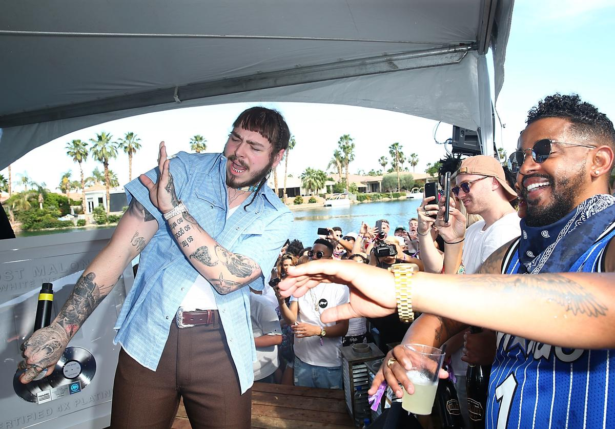 Post Malone performs at the KALEIDOSCOPE: REFRESH presented by Cannabinoid Water on April 16, 2017 in La Quinta, California