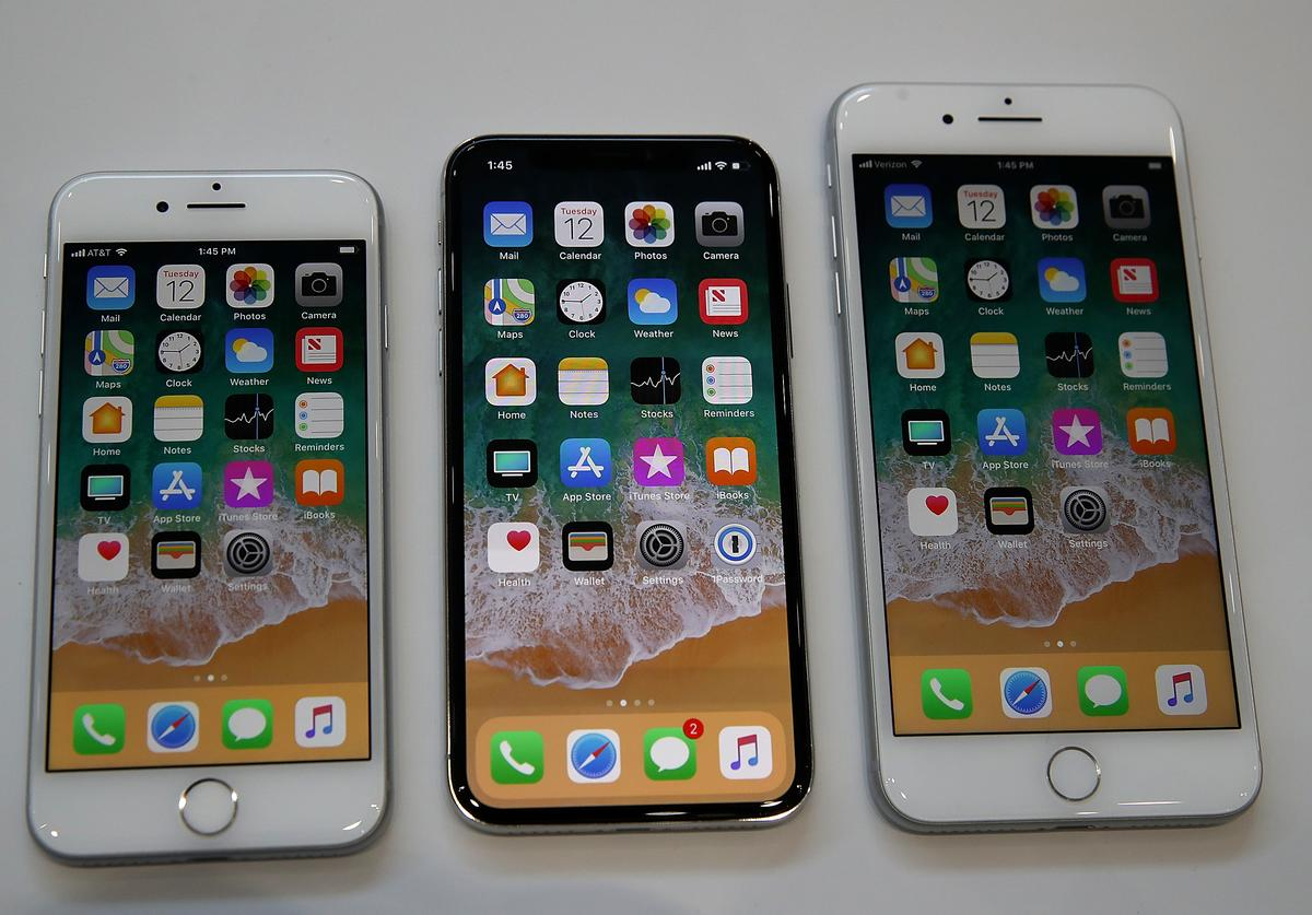 The new iPhone 8, iPhone X and iPhone 8S are displayed during an Apple special event at the Steve Jobs Theatre on the Apple Park campus on September 12, 2017 in Cupertino, California. Apple held their first special event at the new Apple Park campus where they announced the new iPhone 8, iPhone X and the Apple Watch Series 3