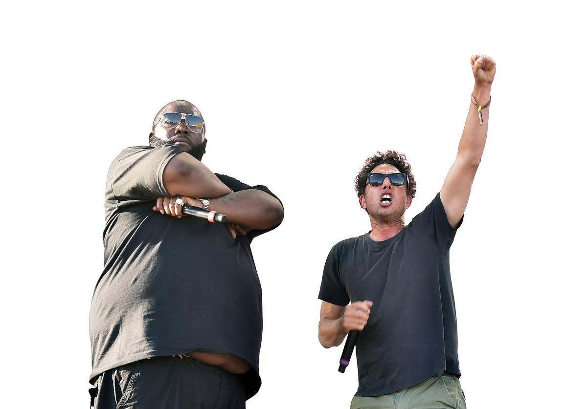 Recording artists Killer Mike (L) and Zack de la Rocha of Run the Jewels perform onstage during day 2 of the 2016 Coachella Valley Music & Arts Festival Weekend 2 at the Empire Polo Club on April 23, 2016 in Indio, California