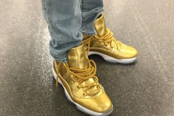 "Kawhi Leonard Debuts ""Metallic Gold"" Air Jordan 11"