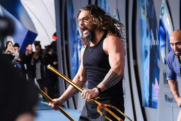 "Jason Momoa Does Haka & Breaks A Trident On His Knee At ""Aquaman"" Premier"