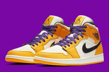 "Air Jordan 1 Mid ""Lakers"" Images Revealed"