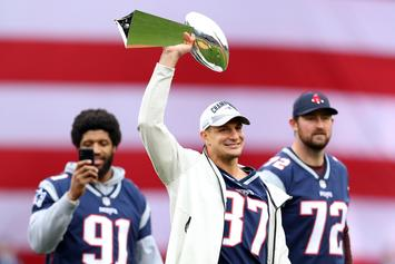 Rob Gronkowski Uses Lombardi Trophy As A Baseball Bat And Dents It