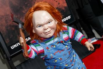 "Chucky Appears To Murder Woody From ""Toy Story"" In ""Child's Play"" Poster"