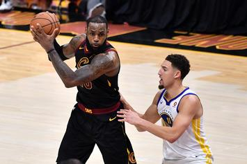 "Klay Thompson Greets LeBron James At ""Space Jam 2"" Set On Crutches"