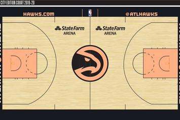 """Atlanta Hawks New """"City Edition"""" Court Nods To The Peach State: First Look"""