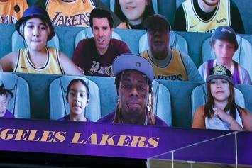 "Lil Wayne Attends Lakers Game As ""Virtual Fan"""