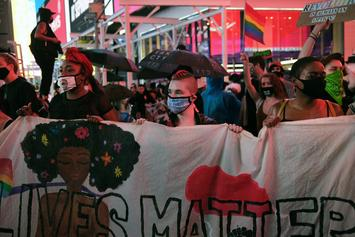 Motorist Drives Through Crowd Of Protesters In Times Square