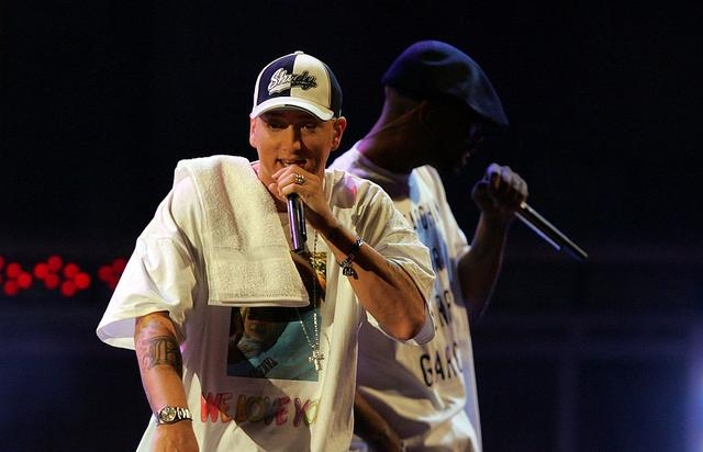 Eminem performs onstage during the 2005 MTV Movie Awards at the Shrine Auditorium on June 4, 2005 in Los Angeles, California.