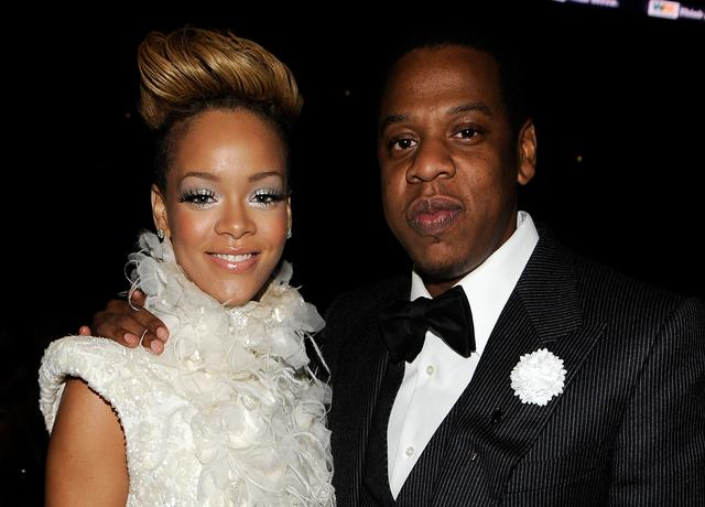 Singer Rihanna (L) and Jay-Z in the audience during the 52nd Annual GRAMMY Awards held at Staples Center on January 31, 2010 in Los Angeles, California.