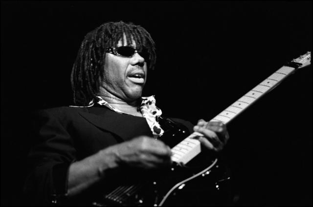 Nile Rodgers of Chic performs on stage at Tramps on 4 April 1998 in New York.