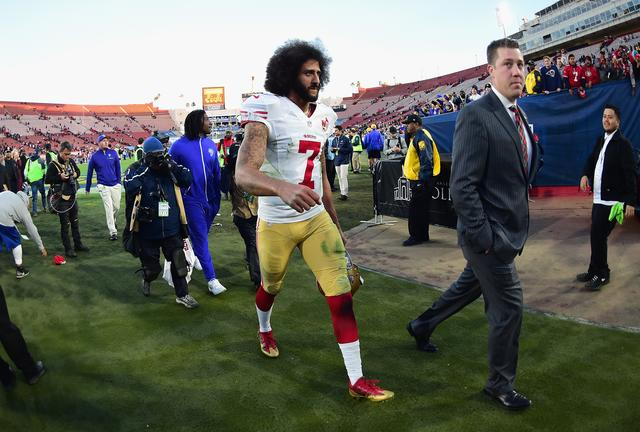 Colin Kaepernick walking off the field