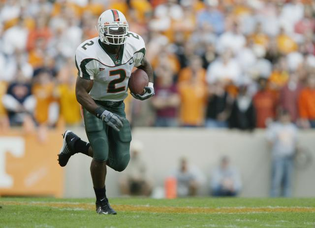 Running back Willis McGahee #2 of Miami carries the ball during the game against the Tennessee on November 9, 2002 at the Neyland Stadium in Knoxville, Tennessee