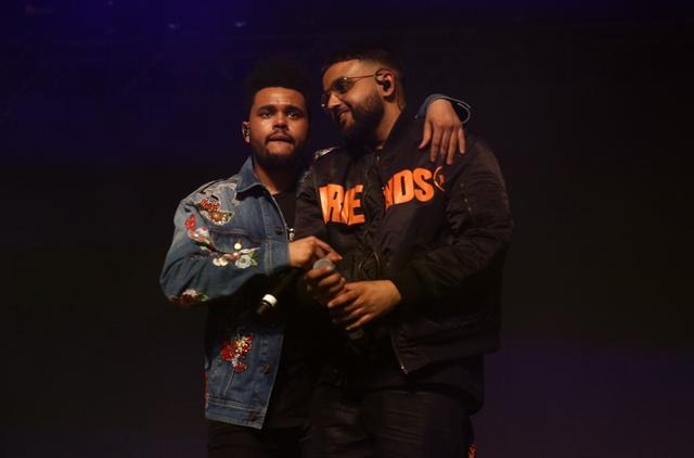 The Weeknd and Nav perform onstage at the Gobi tent during day 2 of the Coachella Valley Music And Arts Festival at Empire Polo Club on April 15, 2017 in Indio, California