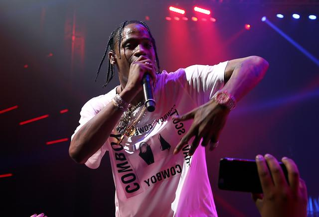 Travis Scott performing at Maxim Super Bowl Party