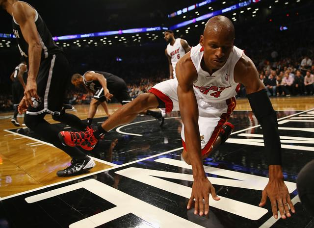 Ray Allen during Miami Heat v Brooklyn Nets