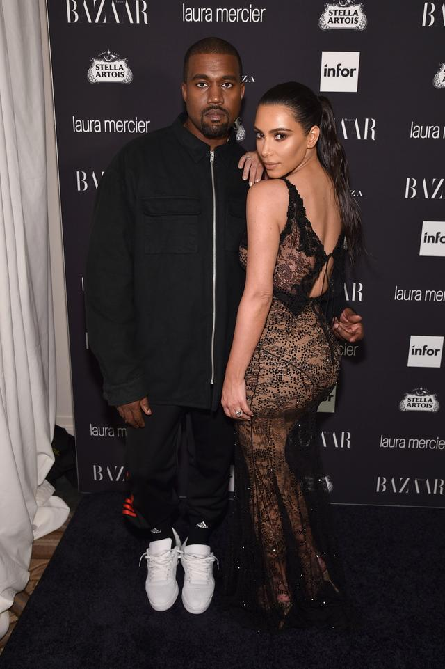 Kanye West and Kim Kardashian at Harpers Bazaar event