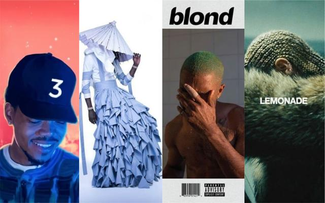 "Chance the Rapper ""Coloring Book,"" Young Thug ""Jeffery,"" Frank Ocean ""Blonde,"" Beyonce ""Lemonade"" artwork"