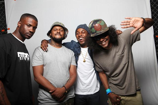 Jay Rock, Schoolboy Q, Kendrick Lamar and Ab-Soul of Black Hippy pose for a portrait backstage at Fader Fort during SXSW on March 16, 2012 in Austin, Texas.