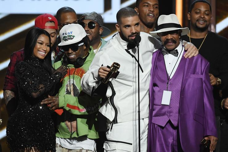 Drake, Lil Wayne, Nicki Minaj and Drake's dad all together