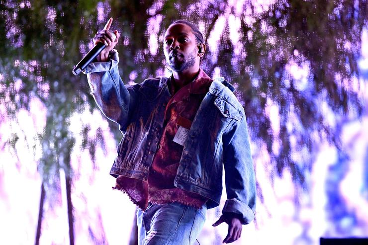 Rapper Kendrick Lamar performs as a special guest on the Coachella stage during week 1, day 1 of the Coachella Valley Music and Arts Festival on April 13, 2018 in Indio, California.