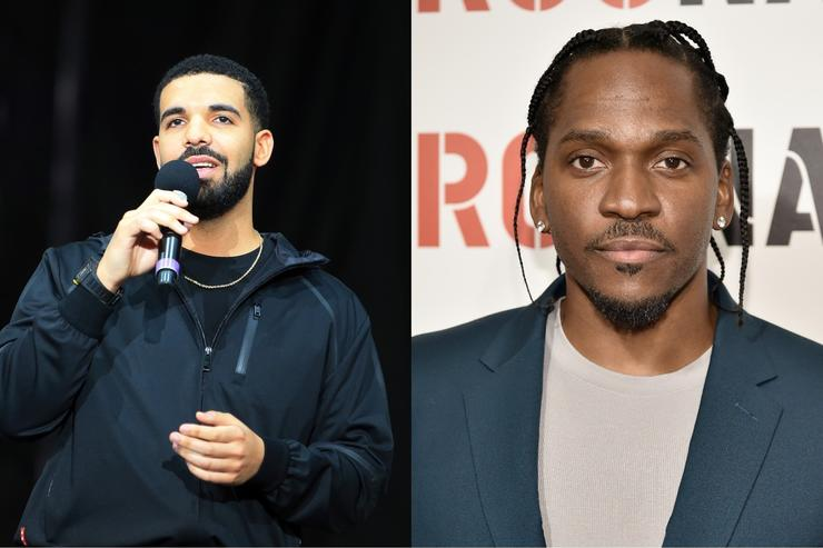 Pusha T vs Drake split screen
