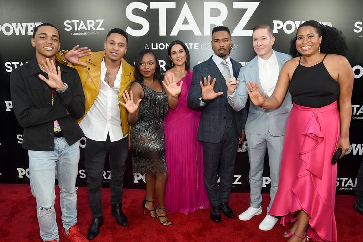 Michael Rainey Jr., Rotimi Akinosho, Naturi Naughton, Lela Loren, Omari Hardwick, Joseph Sikora, and 'Power' Creator and Executive Producer Courtney A. Kemp attend the Starz 'Power' The Fifth Season NYC Red Carpet Premiere Event & After Party on June 28, 2018 in New York City.