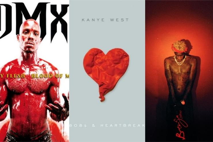DMX, Kanye West and Young Thug album covers